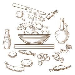 Vector sketch of cooking salad process