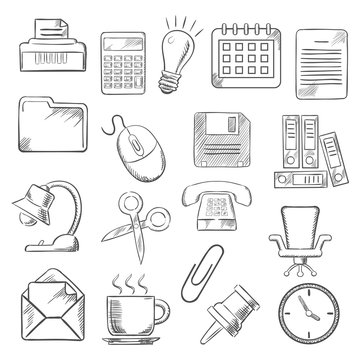 Business and office sketch icons