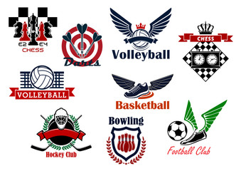 Heraldic emblems and symbols for sport team