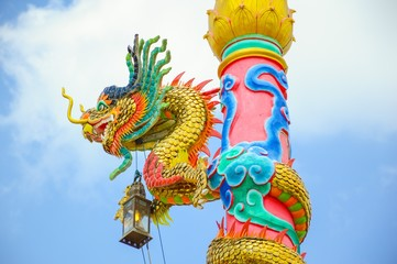 Chinese dragon statue art on post