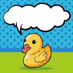 duck toy doodle, speech bubble