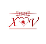 XV Love Initial With Red Heart And Rose