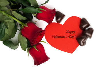 Tag Happy Valentine's Day with bouquet of red roses, paper heart