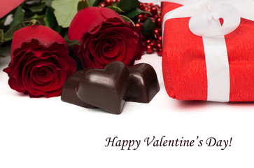 Tag Happy Valentine's Daу with red present box and white ribbon