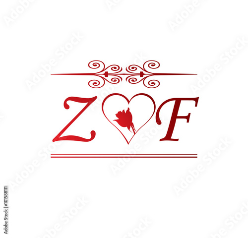 Zf love initial with red heart and rose stock image and royalty zf love initial with red heart and rose thecheapjerseys Image collections