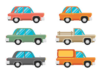 set of vintage cars, vector flat style