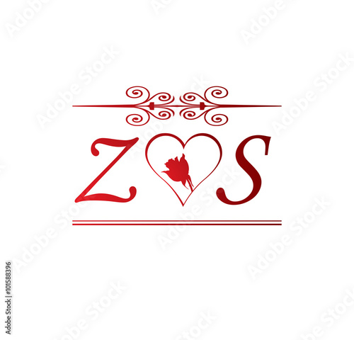Zs Love Initial With Red Heart And Rose