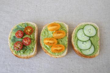 Green sourdough open face sandwiches toast