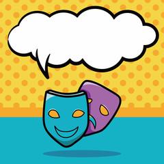 opera mask doodle, speech bubble