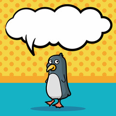 animal penguin doodle, speech bubble