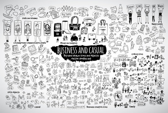 Big bundle business casual doodles icons and objects.