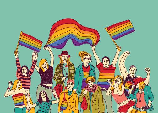 Illustration of happy people waving rainbow flags