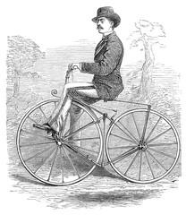 Gentleman bicycle rider drawing profile