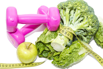 vegetables and dumbbell isolated