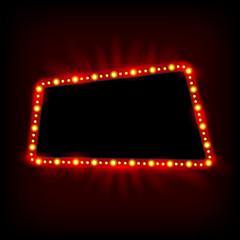 Retro light banner. Vector glowing theater cinema Sign. Retro re