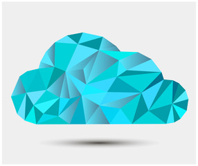 Vector polygonal cloud background.