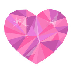 polygonal pink colored heart