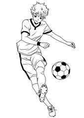 Football soccer forward, illustration,logo,ink,black and white,outline,isolated on a white