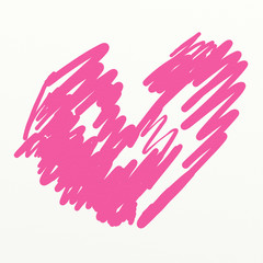 Watercolor painted pink heart for texture and valentine backgrou