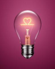 Light Bulb with Filament Forming a Heart Icon