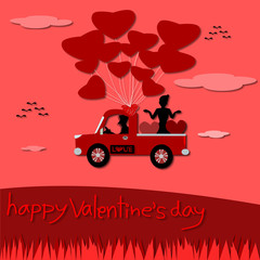 Happy valentine's day, Valentine's Day greeting card, Couple love illustration. paper cut style