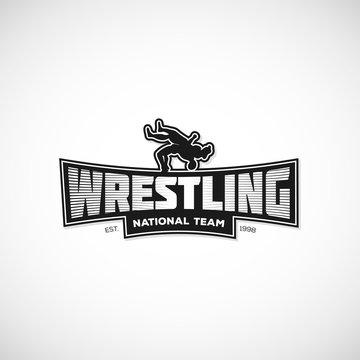 Freestyle Wrestling logo, sign, illustration. Template for gym, print, sticker, cover, poster or any art works. Vector illustration.