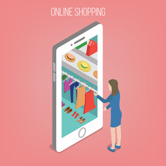 Online Shopping Concept in Isometric Style. Woman with Smart Phone
