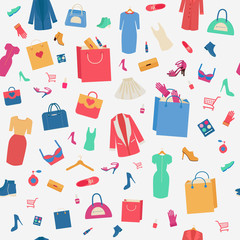 Woman Shopping Seamless Pattern with Clothing and Cosmetics