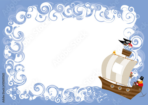 Birthday invitation cartoon pirates pirate ship sea waves with birthday invitation cartoon pirates pirate ship sea waves with white text box to stopboris Gallery