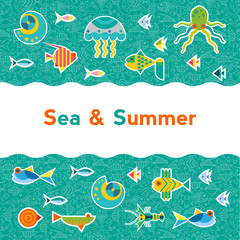 Vector background with sea creatures