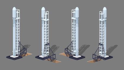 Modern space rocket on the launch pad. 3D lowpoly isometric vector illustration. The set of objects isolated against the grey background and shown from different sides