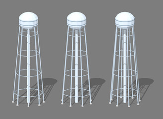 Water tower. 3D lowpoly isometric vector illustration. The set of objects isolated against the grey background and shown from different sides
