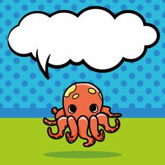sea animal octopus doodle, speech bubble
