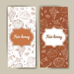Vector card with honey elements. Template for menu, poster, card. Background with helthy food production.