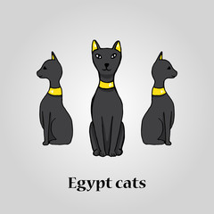 Three egypt black cats