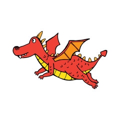 Red flying cute dragon in cartoon style