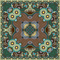 authentic silk neck scarf or kerchief square pattern design
