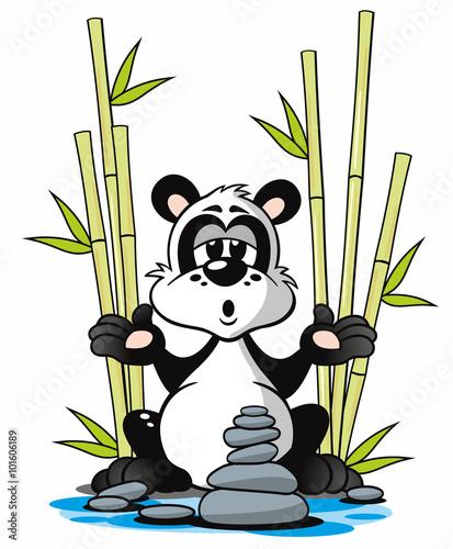 Panda Mit Bambus Meditation Am Wasser Cartoon Stock Photo And