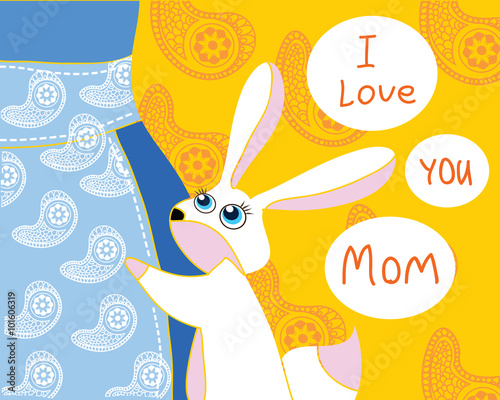 I Love You Mom Cute Rabbit Hug Mother Mothers Day Greeting Card
