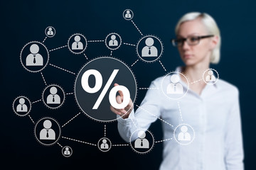 Business woman hand press percent web button