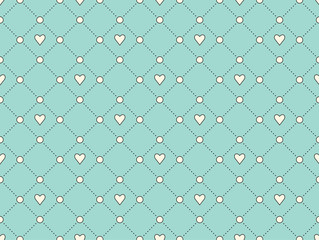 Seamless pattern with white heart and dot on a turquoise background for Valentine's Day. Vector Illustration.