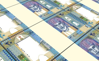 Omani rials bills stacked background. Computer generated 3D photo rendering.