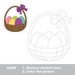 Easter Basket to be traced. Vector trace game.