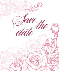 Save The Date with rose. Wedding Invitation Card (Use for Boarding Pass, invitations, thank you card.) Template Vector.