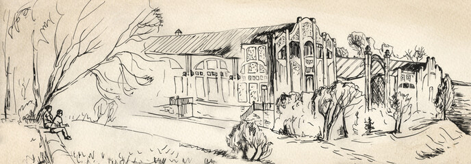 Panorama of the old city. Palace and gardens on the banks of the river. Sketch with black ink