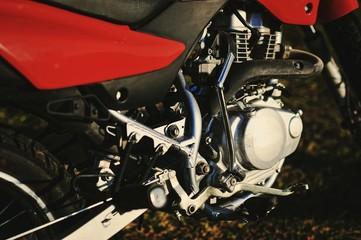 The motor of enduro motorcycle
