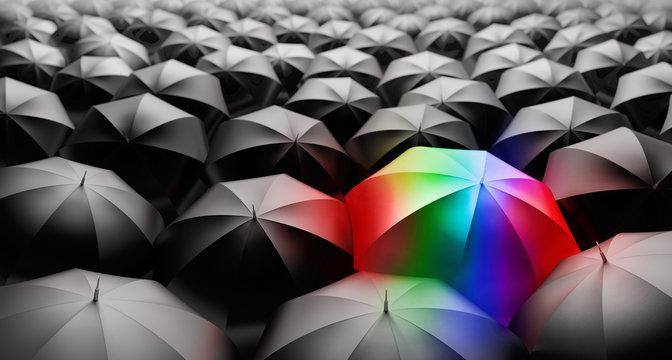Regenbogen-Schirm in schwarz