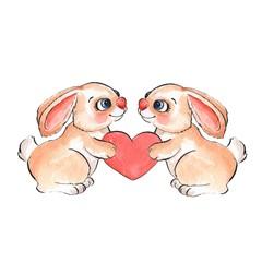 Cartoon rabbits. Watercolor illustration 06