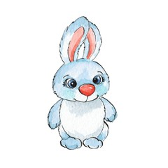 Cartoon rabbits. Watercolor illustration 20