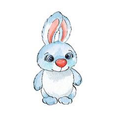 Cartoon rabbits. Watercolor illustration 20